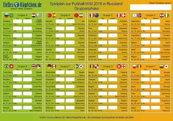 Spielplan der Fussball-WM 2018 zum Ausdrucken