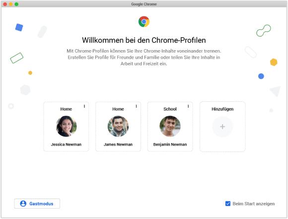 Willkommen bei den Chrome-Profilen
