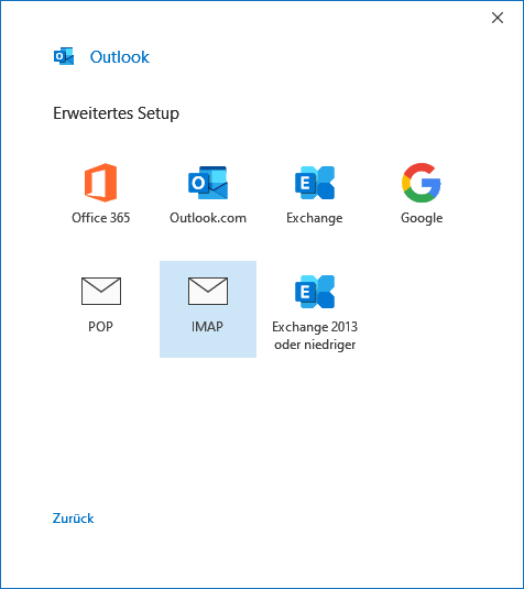 IONOS IMAP E-Mail-Konto in Outlook 2019