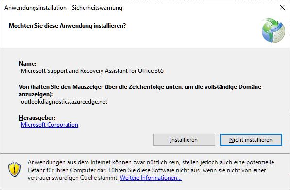 Microsoft Support- und Wiederherstellungs-Assistent für Office 365