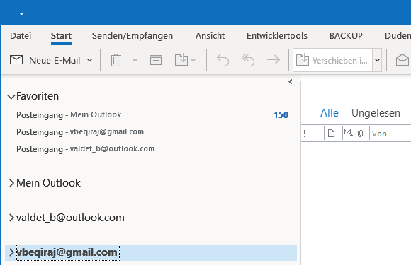 Gmail IMAP E-Mail-Konto in Outlook 365