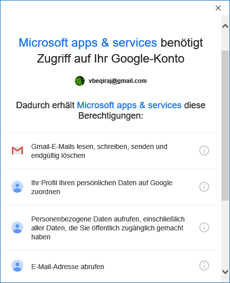 Gmail E-Mail-Konto in Outlook 365