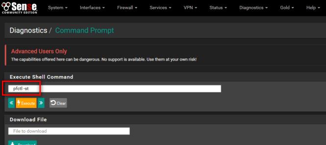 pfSense : Command Prompt en mode navigateur
