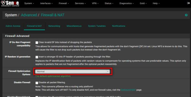 pfSense : Firewall Optimization Options