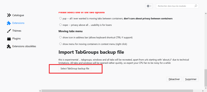 Import TabGroups backup file