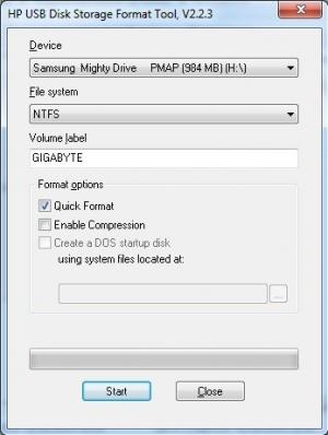 HP USB Diskformattool интерфейсі