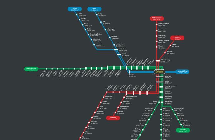 Så mycket kostar en bostad vid din tunnelbanestation