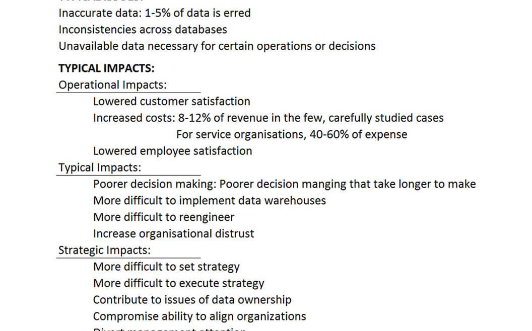 IT Governance Book Table 1: Impact of poor data quality on the typical enterprise (Redman 1998, 82)