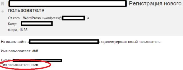 роль пользователя wordpress в email