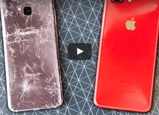 дроп тест iphone 7 против galaxy s8