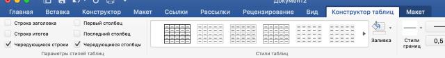 вкладка таблицы word
