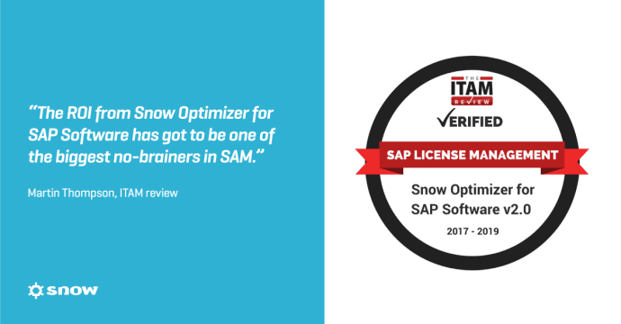 Snow Software tilldelas ITAM Review's SAP License Management Certification
