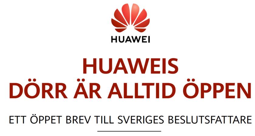 Huawei publicerar öppet brev till svenska beslutsfattare