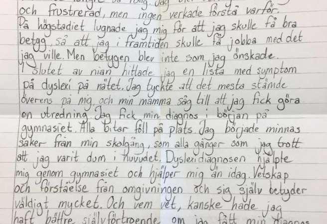 Sandra skrev brev till Sveriges skolchefer om sin oupptäckta dyslexi