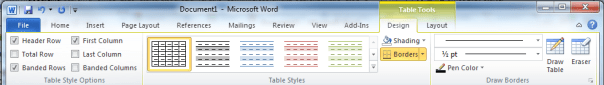 Office 2010 Word Table Tools Ribbon - Design