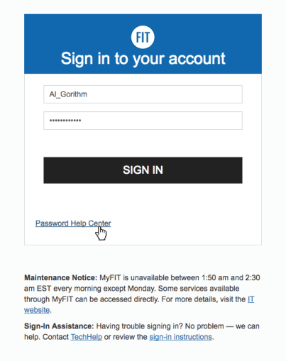 MyFIT Sign In Page Cursor on Password Help Center