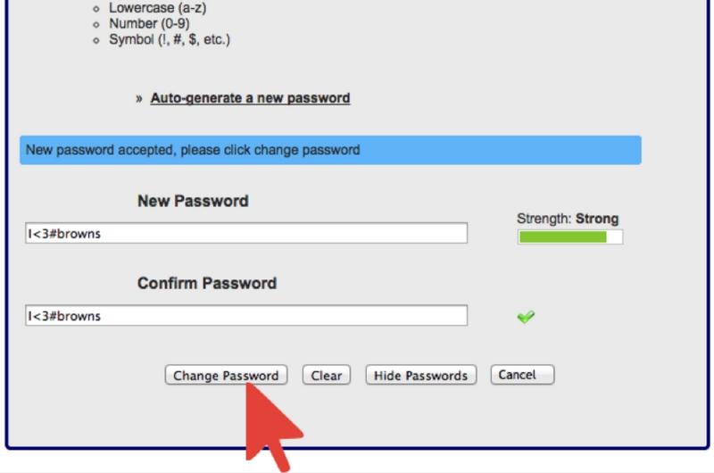 New Password Window