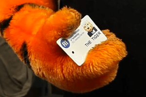 Tiger Mascot Holding FIT ID Card