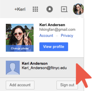 Arrow on Second Google Account