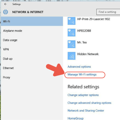 Arrow pointing at Manage Wi-FI settings on Windows 10
