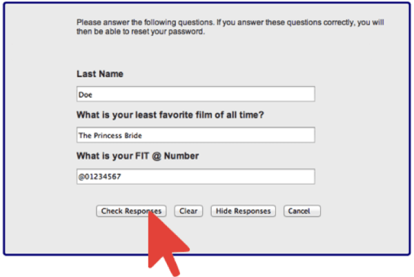 Completed Password Security Qustions with Arrow Pointing at Check Responses Button