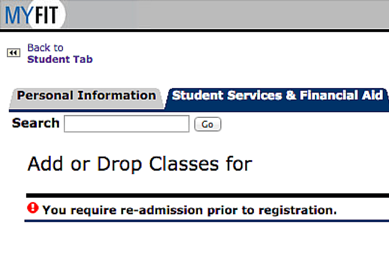 MyFIT Registration Window with Message You require re admission prior to registration