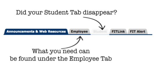 Transparent Student Tab Next to Visible Employee Tab