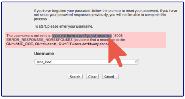 Username not valid or security responses not configured window