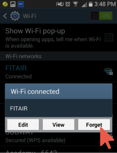 Wi-Fi Connected Window with Forget Selected
