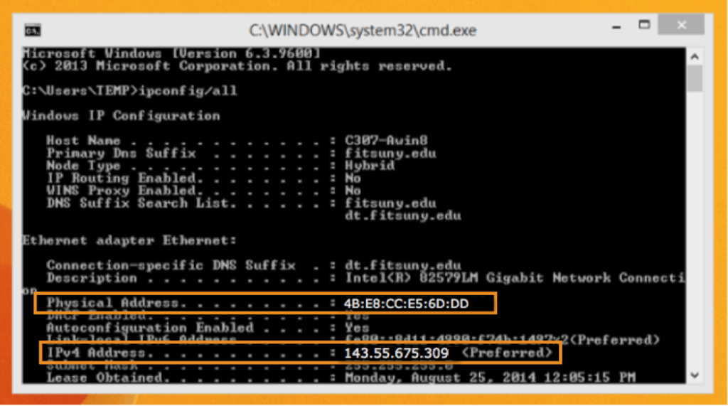 Physical Address and IPv4 Address in cmd Window