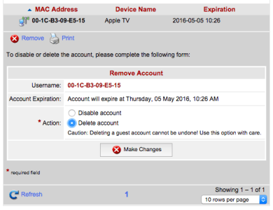 Remove Account (Device) Window