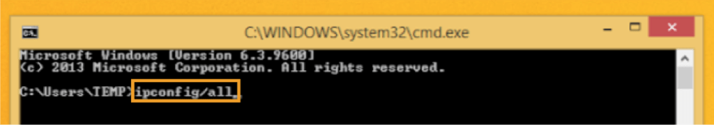 Windows ipconfig/all Command