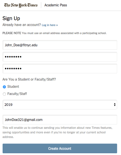 NY Times Academic Pass Sign Up Form Completed