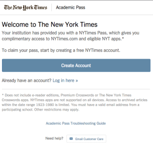 NY Times Create Account or Log in here