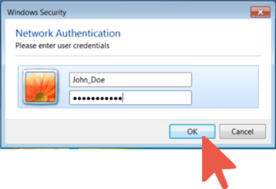 Nework Authentication Window with John_Doe Information