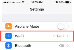 Wi-Fi Selected on iOS