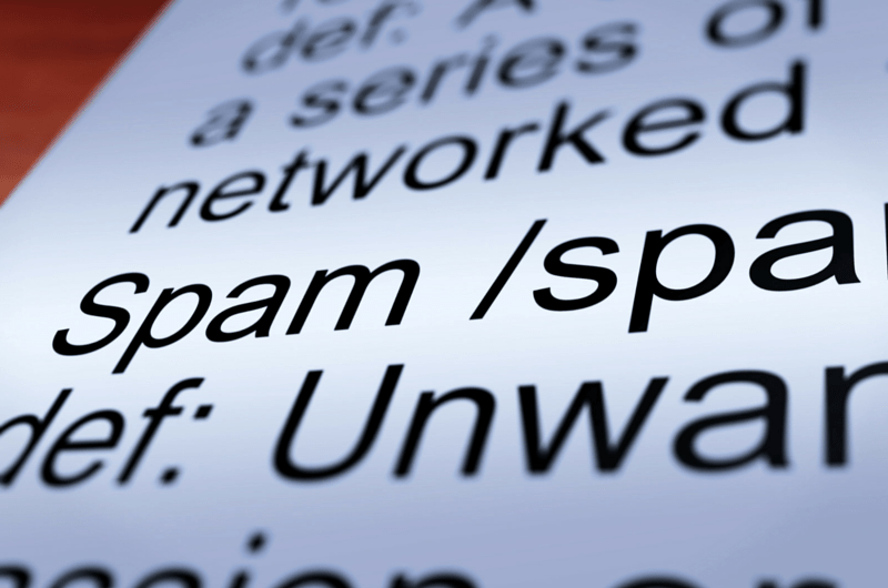 Close up of Spam Definition