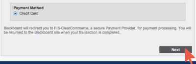 Make Account Deposit Payment Method Credit Card and Arrow over Next Button