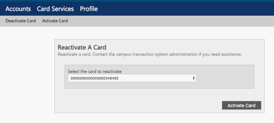 Activate Card Window