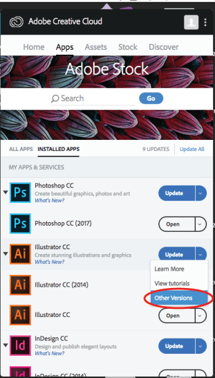 """Drop down menu with """"Learn More"""", """"View Tutorials"""", & """"Other Versions"""""""