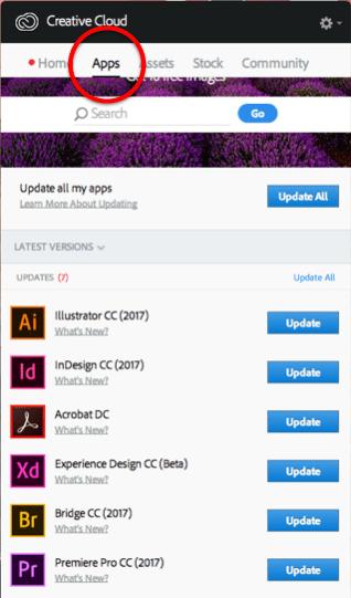 Creative Cloud Apps Tab