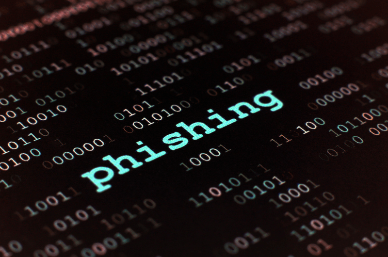the typed word phishing