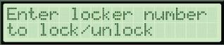 Enter locker number to lock/unlock