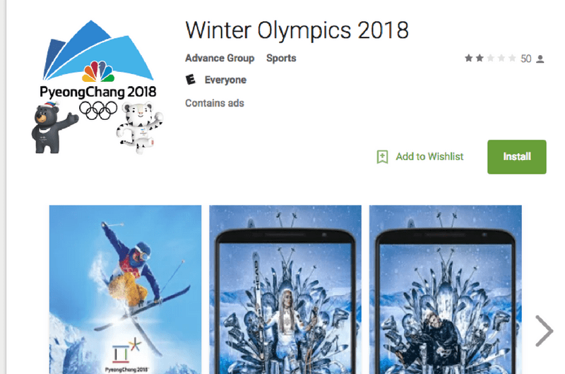 Unofficial application using official Olympics branding