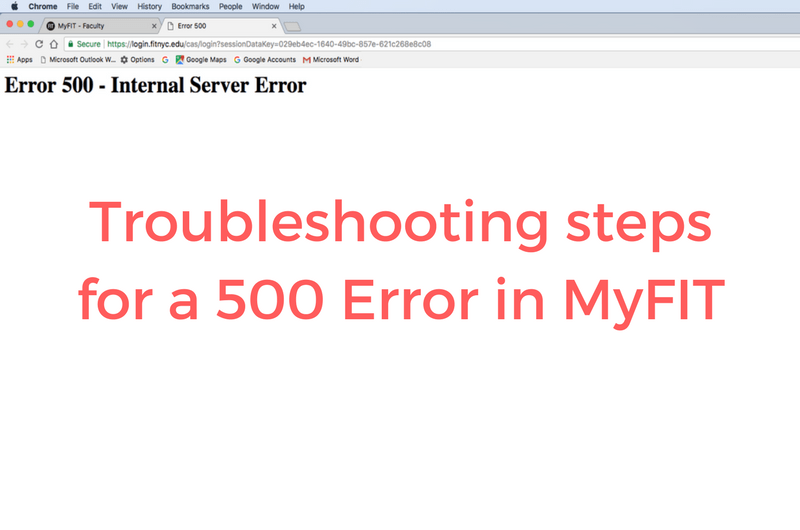 500 Error Page on MyFIT