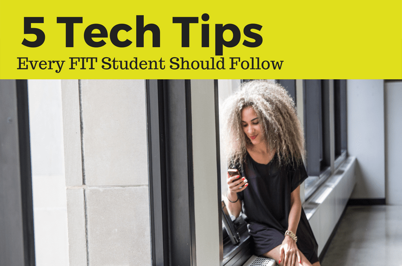 FIT Student Using Cellphone with 5 Tech Tips Banner Added to Image