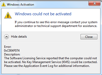 """Windows Activation pop-up stating """"Windows could not be activated"""""""