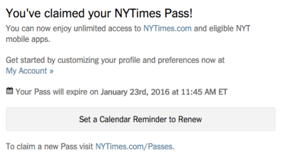 You've claimed your NYTimes Pass! With Date Pass will Expire
