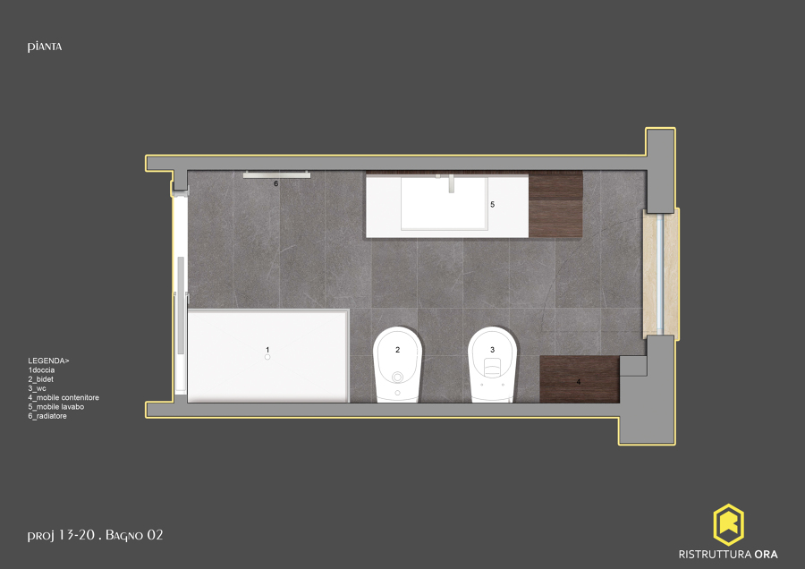 Progetto Per la Ristrutturazione di un Bagno di 6mq  Idee