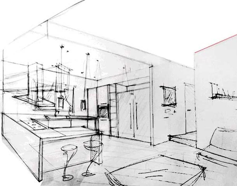 Schizzo Ambiente Cucina  Idee Architetti